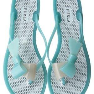 Furla Italy Aqua Jelly Bow Detail Thongs Size 35/5